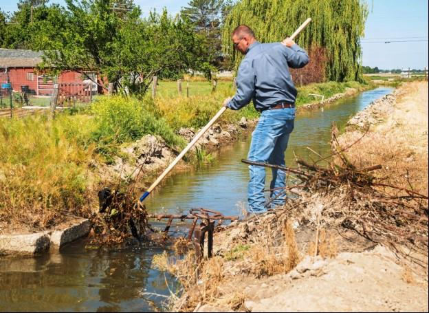 Mark Zirschky, Pioneer Irrigation District water superintendent, clears trash and